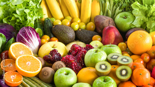 Tuinposter Vruchten Various Fresh fruits and vegetables for eating healthy