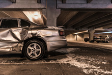 Damaged Car In Underground Par...