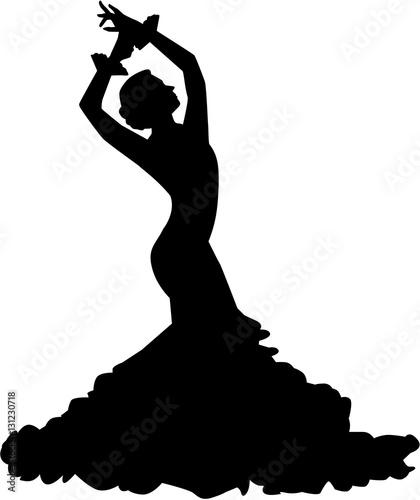 Obraz na plátně  Silhouette of flamenco dancer