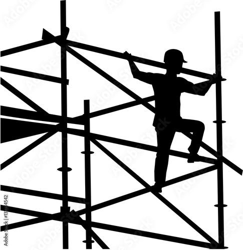 Fototapeta Scaffolder on the frame silhouette