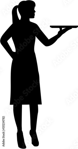 Waitress with plate silhouette Canvas Print