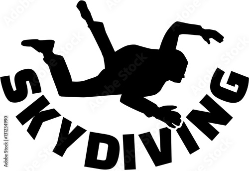 Canvas Print Skydiver with skydiving word