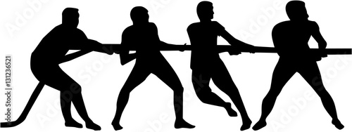 Fotografie, Obraz  Tug of war. Silhouette of three people.