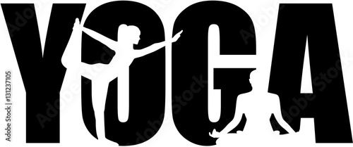 Yoga word with silhouette cutouts
