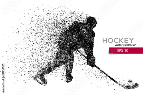 Obraz na plátne silhouette of a hockey player from particles.