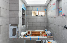 Wet Room Tiling In Progress, Including Shelves, Soap Niche, Toilet Paper Niche And Shower Seat