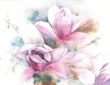 Kwiat magnolii drzewo tulipan magnolia akwarela malarstwo ilustracja kartkę z życzeniami - 131253175