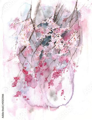 Kwitnąca drzewna wiosny okwitnięcia Sakura akwareli obrazu ilustracja