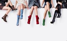 Many Colorful Boots Women Sitt...