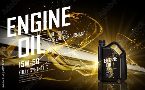 Fotomural golden engine oil ad