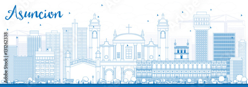 Outline Asuncion Skyline with Blue Buildings. Canvas Print