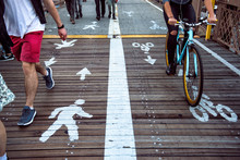 Pedestrian And Bicycle Riders ...