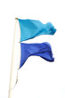 blue flags on the pole waving in the wind
