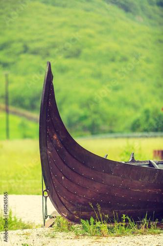 Keuken foto achterwand Schip Part of old wooden viking boat in norwegian nature