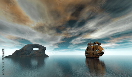 Fotografija  3d rendering of sailing ship in the vast ocean with small waves and a rock islan