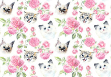 Seamless Pattern With Cats And Roses. Watercolor Hand Drawn Illustration