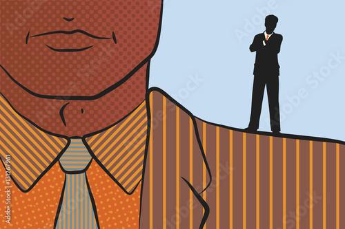 Fotografía  Businessman on shoulder of giant