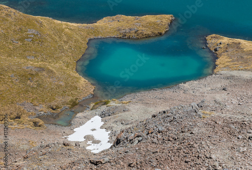 closeup of Angelus lake in Nelson Lakes National Park, New Zealand Canvas Print