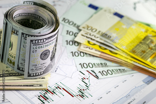 Concept Of Currency Exchange Trading Roll Hundred Us Dollar Bills Standing Piles Euro