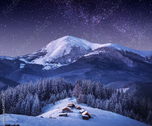 Fotobehang Bergen Mountain village in light of rising moon