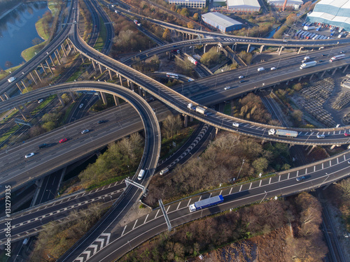 Aerial view of Spaghetti Junction in Birmingham, UK.