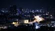 View of Business Building Bangkok city area traffic location at night life, high angle shot in HD, Din Daeng District BANGKOK, Thailand