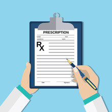 Doctor Hands With Clipboard And Pen, Rx Form.