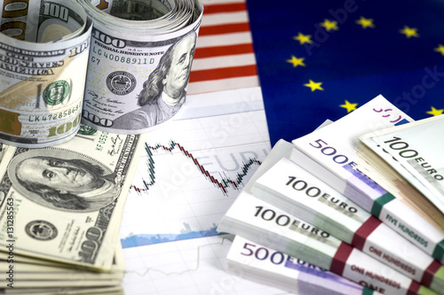 Roll Of Hundred Us Dollar Bills Piles Euro Currency Exchange Chart 200 100 Ans European Community Flags