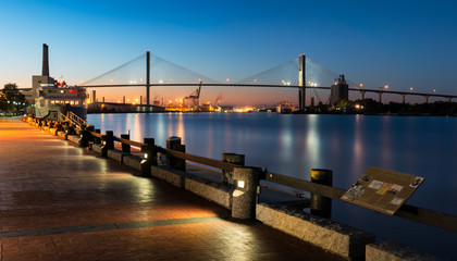 Talmadge Memorial Bridge from river walk along the Savannah River in Savannah, Georgia