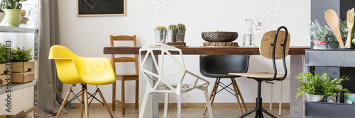 Fotografie, Obraz Table and chairs in dining room