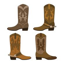 Set Of Cowboy Boots. Color Vector Illustration.