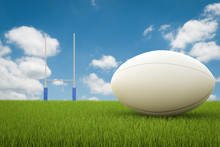 Rugby Ball With Rugby Posts