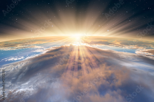"""Plakat Planeta Ziemia z spektakularnym zachodem słońca. . """"Elementy tego obrazu dostarczone przez NASA"""""""