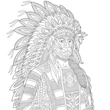 Stylized Cartoon North American Indian Chief (redskin Man), Isolated On White Background. Freehand Sketch For Adult Anti Stress Coloring Book Page With Doodle And Zentangle Elements.