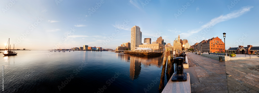 Fototapety, obrazy: Morning sun lights up Boston Harbor and the downtown waterfront. Taken from the end of Long Wharf