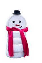Snowman Made From Painted Tires Isolated On White Background.