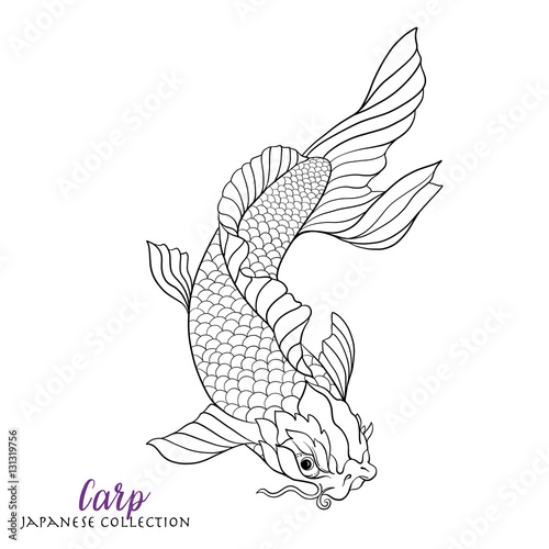 Japanese carp fish. Coloring book for adult. Outline drawing col ...