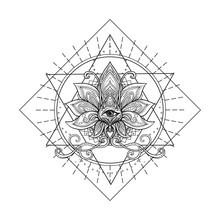 Vector Ornamental Lotus Flower, Sacred Geometry, Eye. Hand Drawn