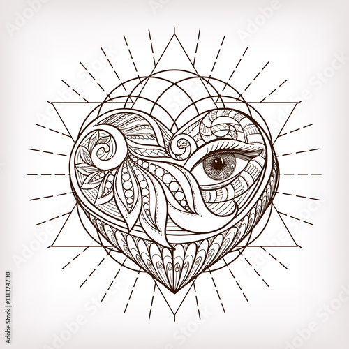 Vector ornamental Love Heart, sacred geometry, eye  Hand