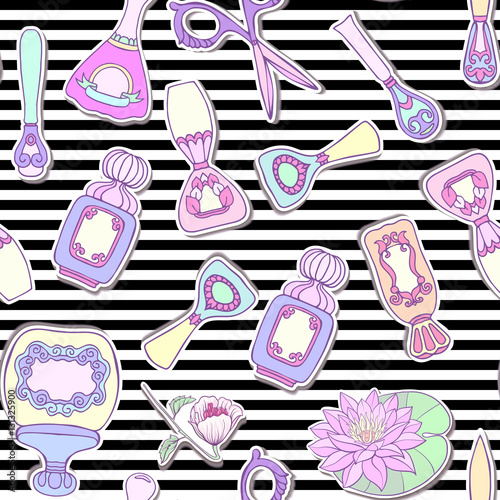 Cotton fabric Set of Manicure: scissors, nail file, nail polish, liquid, perfu