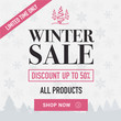 Winter sale social network banner. Light background, snowflakes