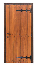 Medieval Wooden Door In Frame Isolated On White Background