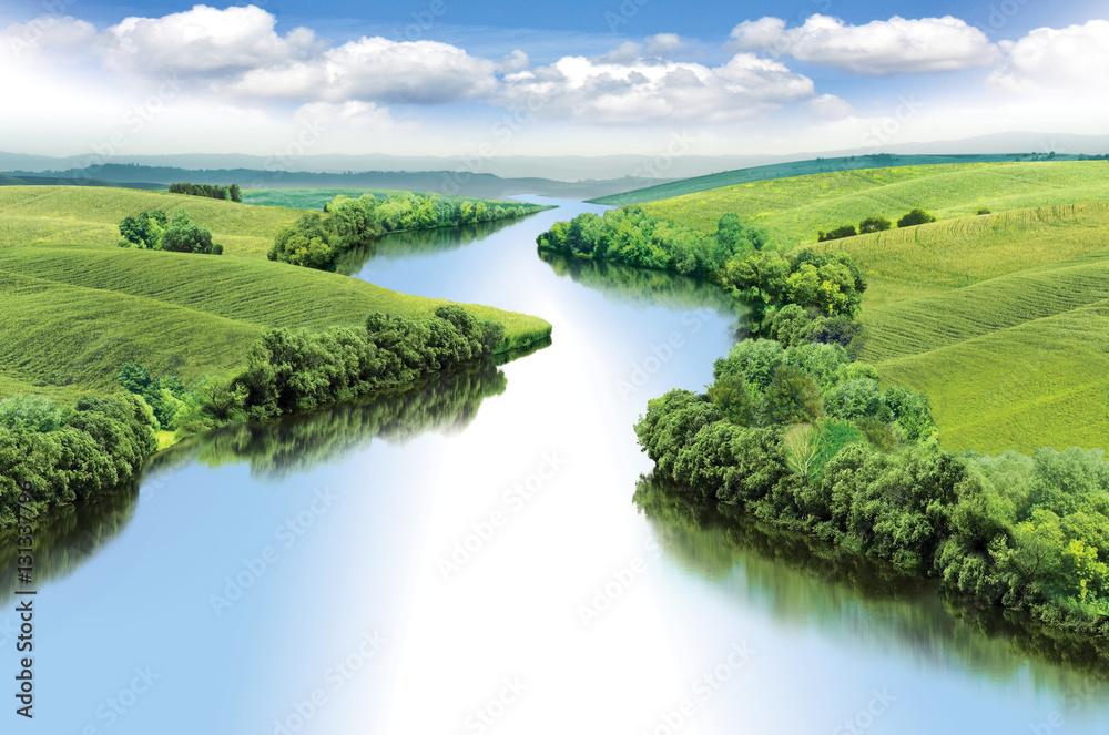 Fototapety, obrazy: Zigzag river flows between summer valleys, color illustration