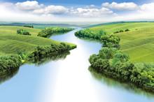 Zigzag River Flows Between Summer Valleys, Color Illustration