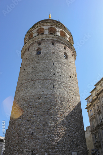 Galata tower from ground. Poster