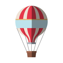 Hot Air Balloon Icon. Transportation Adventure Freedom And Journey Theme. Isolated Design. Vector Illustration