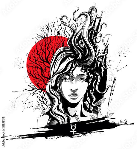 Papiers peints Visage de femme girl with flying hair symbolizes the planet mercury