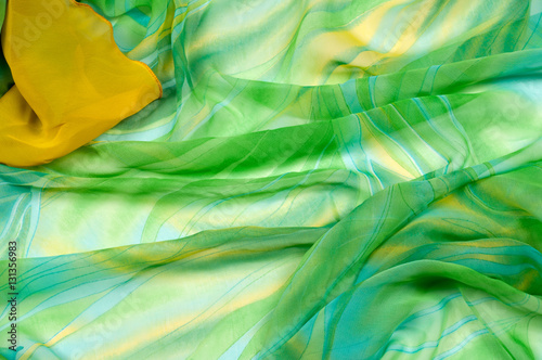 Photo sur Toile Les Textures Silk fabric texture, background. green and yellow color
