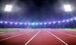 canvas print picture - Empty stadium illustration with running track under spotlight at night