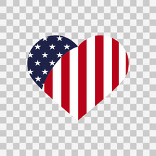 American Flag In Heart Vector Illustration Sign